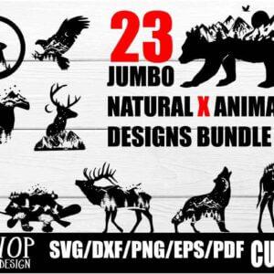 23 Nature X Animal Series Design Bundle, Nature X Animal Series 2020 Wolf, Moose, Bear, Panther and More