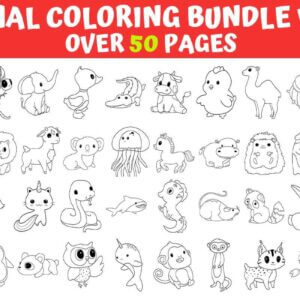 180 Animals Coloring Pages Bundle Vol.1-2-3, Animals Coloring Books