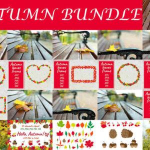 Autumn Bundle, Autumn Leaves Frame. Shape of a Heart, Autumn Leaves. Vector Clipart Set