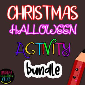 Christmas Halloween Activity Bundle, Christmas Coloring and Writing Papers, Halloween Bats Counting