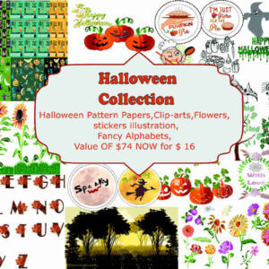 Halloween Collection, Halloween Pattern Papers, Halloween stickers, Halloween Clip-arts