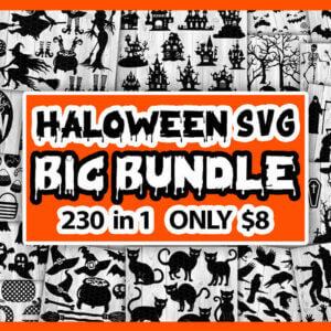 Halloween SVG Big Bundle 320 in 1 – Halloween Pumpkin Faces, Halloween Zombie Silhouette