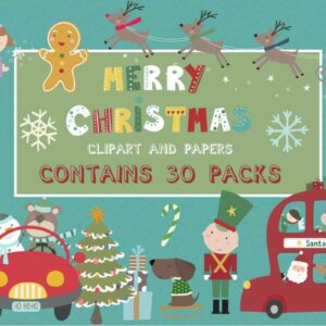 Merry Christmas Bundle 30 Packs, Snowy Night, Santa Tours Paper, Holiday Town