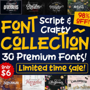 Script & Crafty Font Collection, 30 Premium Fonts
