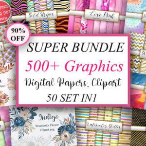 500+ Super Bundle Graphics, Watercolor Flower Clipart, Illustrations, Background, Patterns