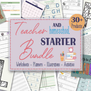 Teacher and Homeschool Starter Bundle, Alphabet Tracing Worksheets for Kids, 2020-2021 Homeschool Lesson Planner-Ltr